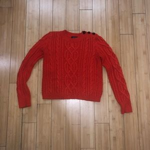 Topshop orange cable knit sweater